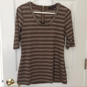 NWOT Green Envelope LA Brown Metallic Striped Top